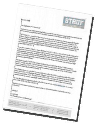 Graphic: LEED letter for qualifying STAUF Wood Flooring adhesives.